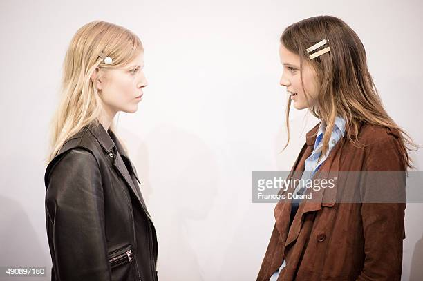 Models prepare backstage prior the Carven show as part of the Paris Fashion Week Womenswear Spring/Summer2016 on October 1 2015 in Paris France