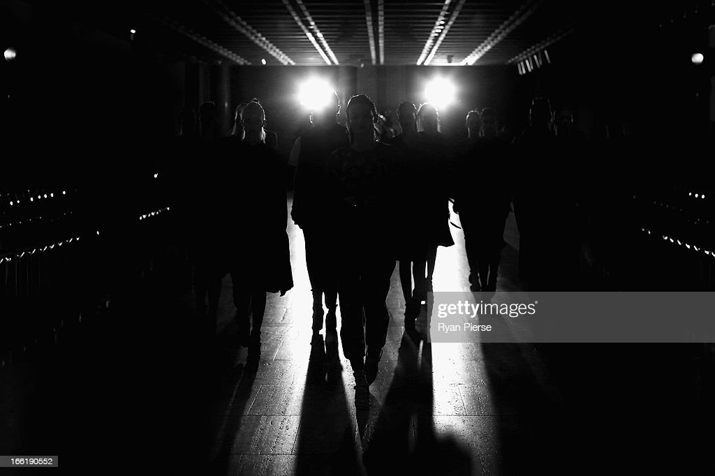 Models prepare for the Lisa Ho show during MercedesBenz Fashion Week Australia Spring/Summer 2013/14 at Art Gallery NSW on April 10 2013 in Sydney...