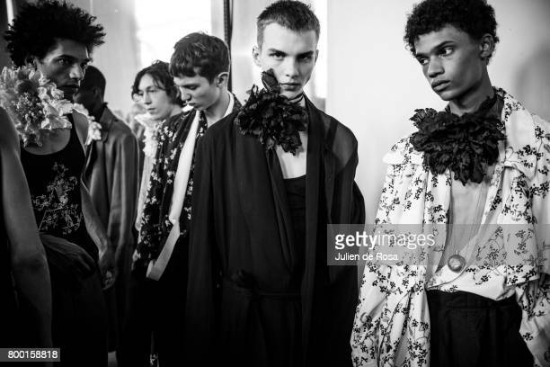 Models prepares backstage before the Ann Demeulemeester Menswear Spring/Summer 2018 show as part of Paris Fashion Week on June 23 2017 in Paris France