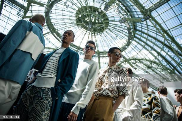 Models prepares backstage before the Cerruti Menswear Spring/Summer 2018 show as part of Paris Fashion Week on June 23 2017 in Paris France