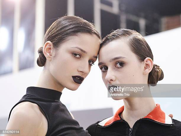 Models prepares backstage before the Christian Dior show as part of the Paris Fashion Week Womenswear Fall/Winter 2016/2017 on March 4 2016 in Paris...