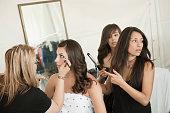 Models preparing for fashion show
