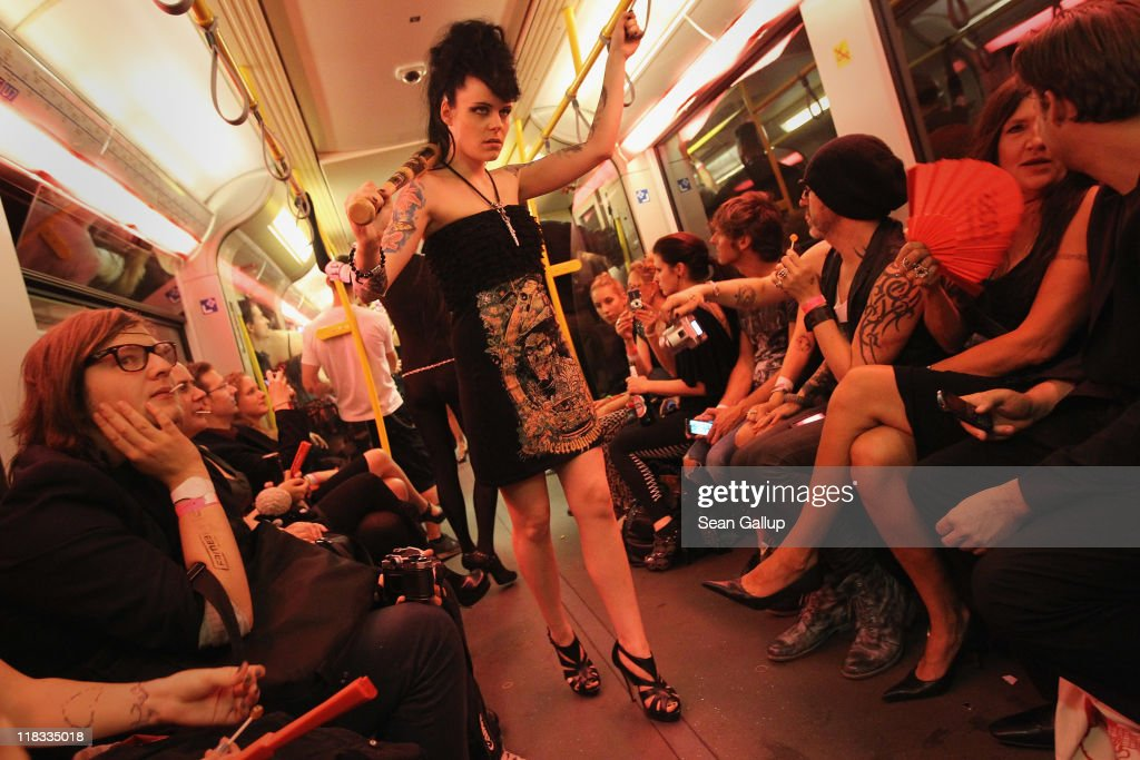 Models present alternative fashion during the Chevrolet Underground Catwalk 2011 on July 6, 2011 in Berlin, Germany. The event took place in an U-Bahn commuter train and coincides with the Mercedes-Benz Fashion Week.