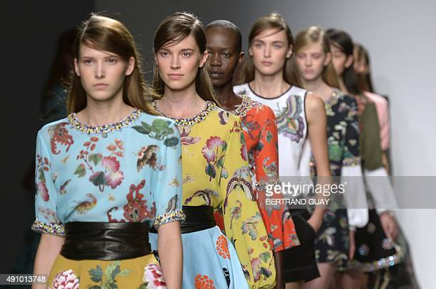 Models present creations by Andrew GN during the 2016 Spring/Summer readytowear collection fashion show on October 2 2015 in Paris AFP PHOTO /...