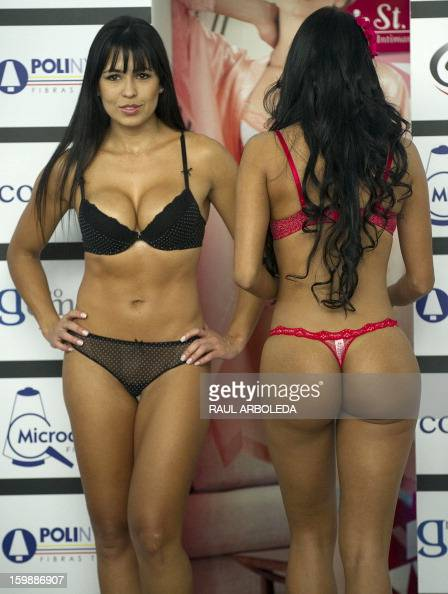 Models present creations by Colombian brand St Even during the Colombiatex fashion show on January 22 2013 in Medellin Antioquia department Colombia...