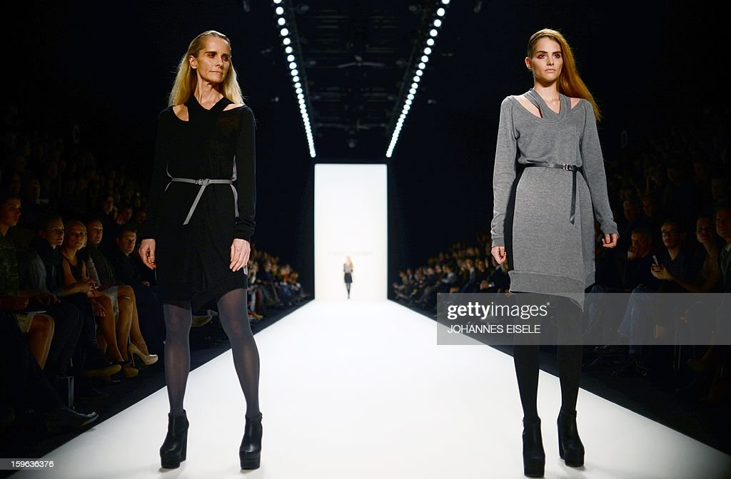 Models present creations by designer A degree Fahrenheit during the Autumn/Winter 2013 show of the Mercedes-Benz Fashion Week on January 17, 2013 in Berlin. The Berlin Fashion Week takes place from January 15 to 20, 2012.
