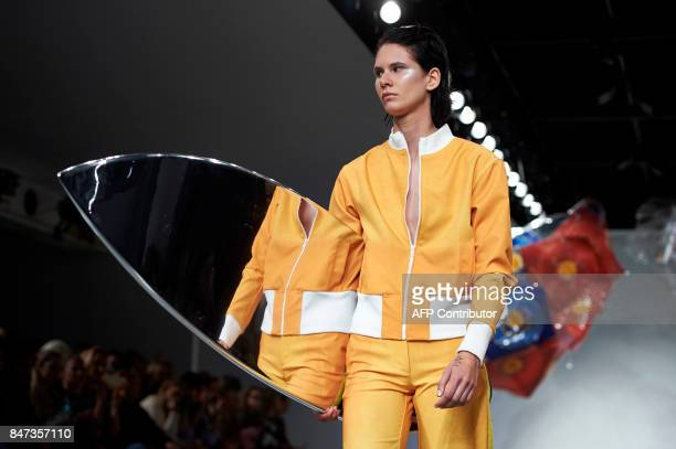 Models present creations by fashion house Fyodor Golan for their Spring/Summer 2018 collection on the first day of London Fashion Week Women's in...