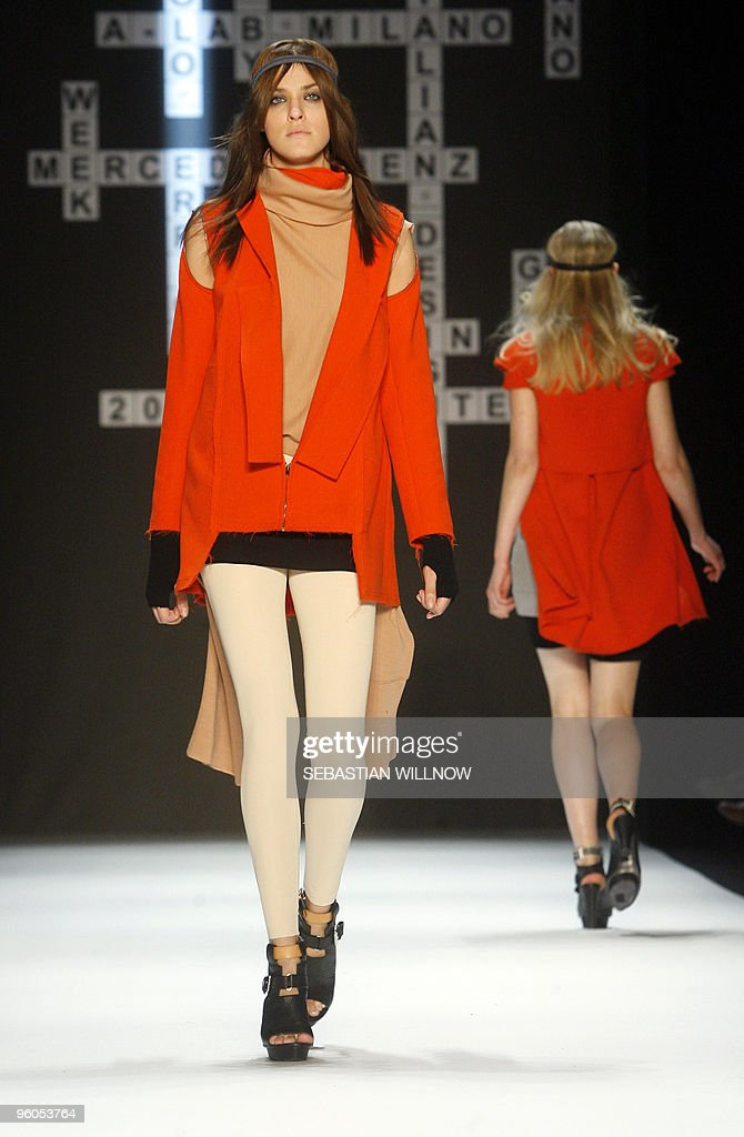 Models present creations by Italian label Paolo Errico during the Berlin Fashion Week in Berlin on January 23, 2010. Some 30 designers present their Fall/Winter 2010/2011 collections from January 20 to 23, 2010 during the fashion week.