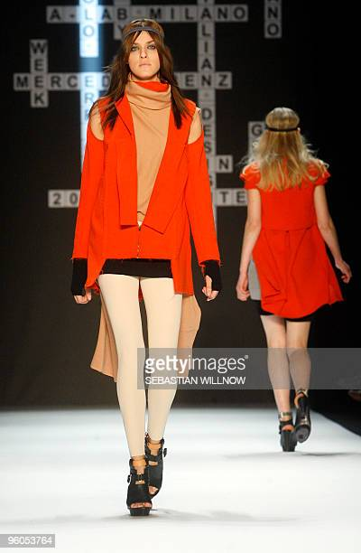 Models present creations by Italian label Paolo Errico during the Berlin Fashion Week in Berlin on January 23 2010 Some 30 designers present their...