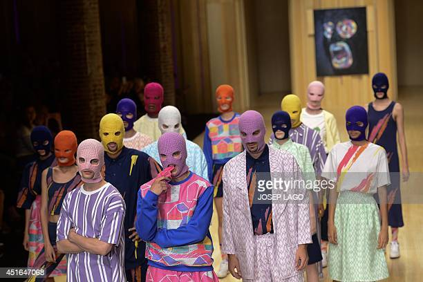 Models present creations by Krizia Robustella during the 080 Barcelona SpringSummer 2015 fashion week in Barcelona on July 3 2014 AFP PHOTO/ JOSEP...
