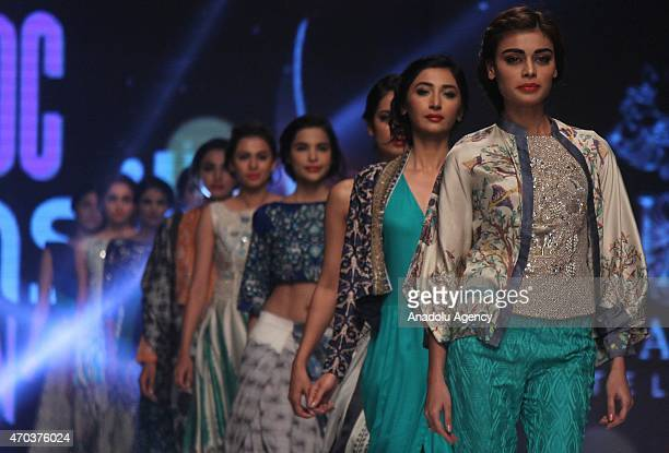 Models present creations by Pakistani designer Muse during second day of Pakistan Fashion Design Council Sunsilk Fashion Week in Lahore Pakistan on...