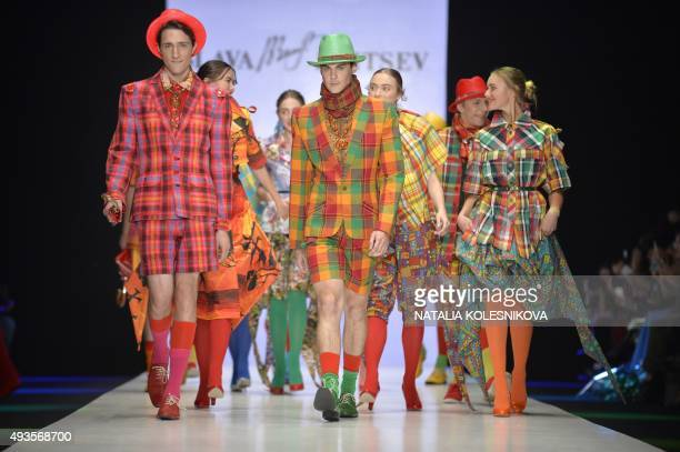 Models present creations by Russian designer Yegor Zaitsev during the MercedesBenz Fashion Week Russia in Moscow on October 21 2015 AFP PHOTO /...