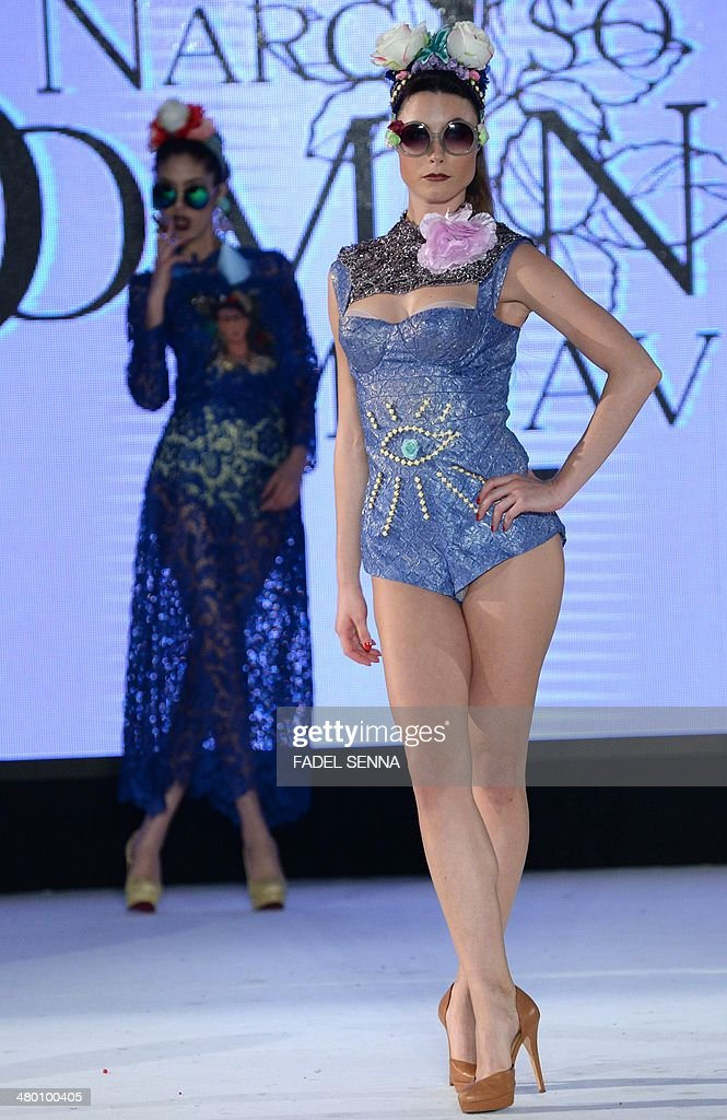 Models present creations by Tunisian fashion designer Seyf Dean Laouti during the 'Fashion days' in Casablanca on March 22 , 2014.