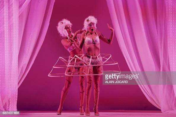 TOPSHOT Models present creations during the French Lingerie Show 'Lingerie Mon Amour' by Lingerie Francaise in Paris on January 22 2017 The French...