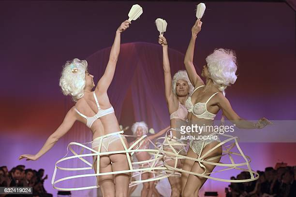Models present creations during the French Lingerie Show 'Lingerie Mon Amour' by Lingerie Francaise in Paris on January 22 2017 The French lingerie...