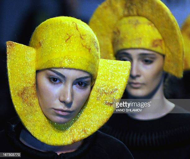 Models present creations for Fall/Winter 2013/2014 collection by Georgian designer Ria Keburia during Tbilisi Fashion Week on April 23 2013AFP PHOTO...