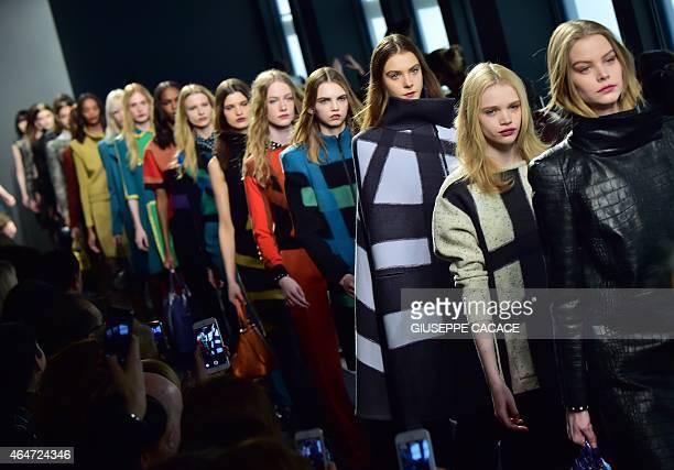 Models present creations for fashion house Bottega Veneta at the women Fall / Winter 2015/16 Milan's Fashion Week on February 28 2015 AFP PHOTO /...