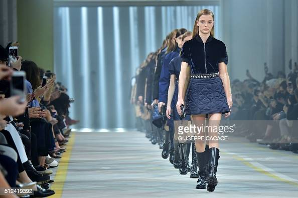 Models present creations for fashion house Diesel Black Gold during the Autumn / Winter 2016 Milan Fashion Week on February 26 2016 AFP PHOTO /...