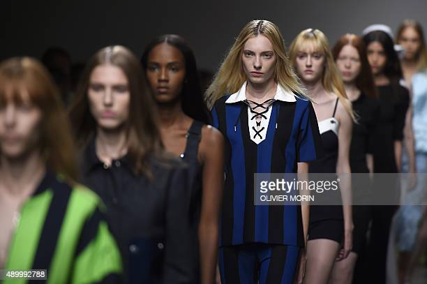 Models present creations for fashion house Iceberg during the women Spring / Summer 2016 Milan's Fashion Week on September 25 2015 in Milan AFP PHOTO...