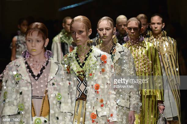Models present creations for fashion house Prada during the women Spring / Summer 2016 Milan's Fashion Week on September 24 2015 in Milan AFP PHOTO /...