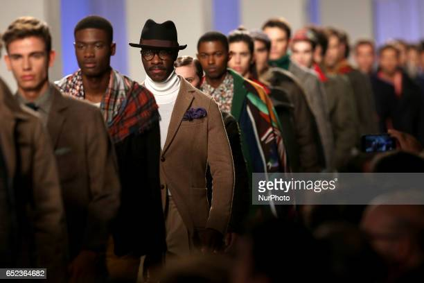 Models present creations from the Portuguese tailor's shop Mustra Fall/Winter 2017/2018 collection during the Lisbon Fashion Week ModaLisboa on March...