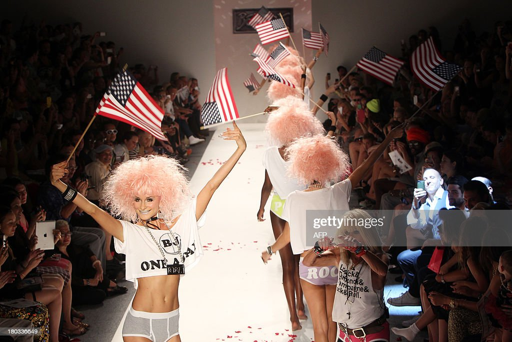 Models present fashion by designer Betsey Johnson during the Mercedes-Benz Fashion Week Spring 2014 collection on September 11, 2013 in New York.