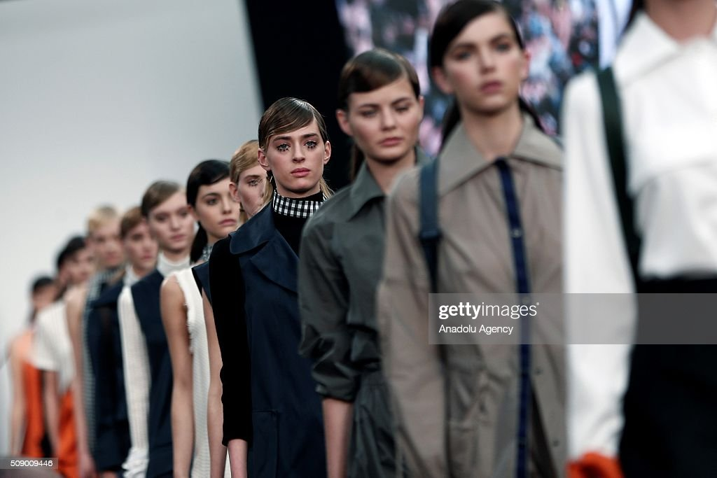 Models present Spring-Summer 2016 creations by Moises Nieto by Ecoembes, within the Madrid Fashion Week, in Madrid, Spain on February 8, 2016.