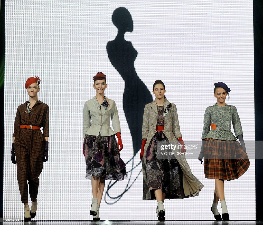 Models presents creations by Belarus' designer Andrei Shash during the annual international festival Mill of Fashion in Minsk late on May 4, 2013.
