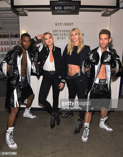 Models Rachel Hilbert and Devon Windsor attend Stuart Weitzman's Launch of the Gigi Boot on October 26 2016 in New York City