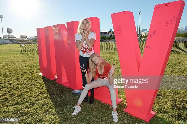 Models Rachel Hilbert and Elsa Hosk during Victoria's Secret 'PINK Nation Crazy For Campus' bash at University of Nevada Las Vegas on October 29 2014...