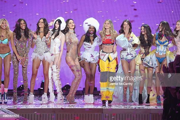 Models Rachel Hilbert Cindy Bruna Izabel Goulart Sui He Barbara Fialho Sharam Diniz Gigi Hadid Flavia Lucini Bruna Lirio and Pauline Hoarau walk the...