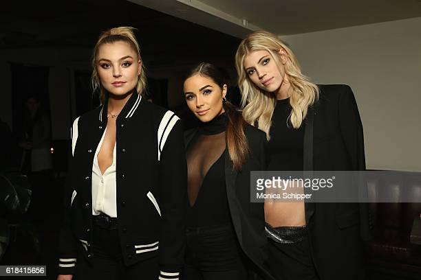 Models Rachel Hilbert Olivia Culpo and Devon Windsor attend Stuart Weitzman's Launch Of The Gigi Boot on October 26 2016 in New York City