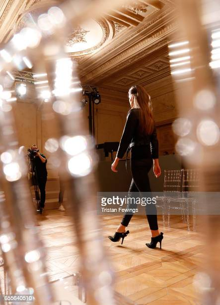 Models rehearse ahead of the Burce Bekrek show during MercedesBenz Istanbul Fashion Week March 2017 at Grand Pera on March 20 2017 in Istanbul Turkey