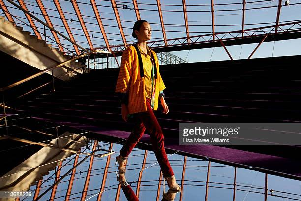 Models rehearse ahead of the Dion Lee show during Rosemount Australian Fashion Week Spring/Summer 2011/12 at The Sydney Opera House on May 5 2011 in...