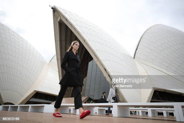 Models rehearse ahead of the MercedesBenz Presents Dion Lee show at MercedesBenz Fashion Week Resort 18 Collections at the Sydney Opera House on May...
