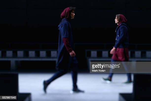 Models rehearse ahead of the Pacific Resort show at MercedesBenz Fashion Week Resort 17 Collections at Carriageworks on May 20 2016 in Sydney...