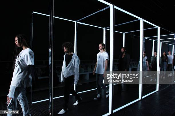 Models rehearse ahead of the StrateasCarlucci show at MercedesBenz Fashion Week Resort 18 Collections at Carriageworks on May 18 2017 in Sydney...