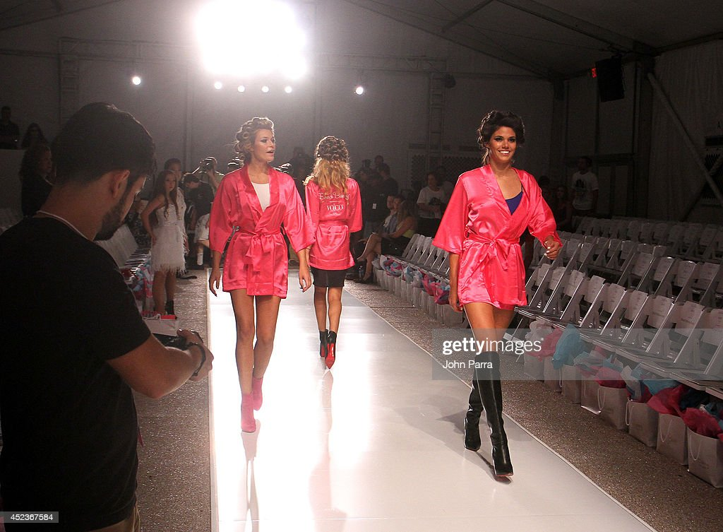 Models rehearse at the Beach Bunny Featuring The Blonds show during MercedesBenz Fashion Week Swim 2015 at Cabana Grande at The Raleigh on July 18...