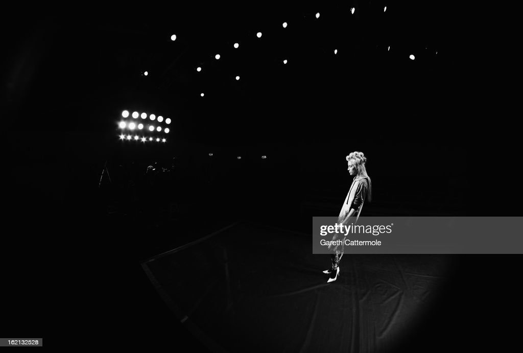 Models rehearse before the Ashish show as part of London Fashion Week Fall/Winter 2013/14 on February 19, 2013 in London, England.