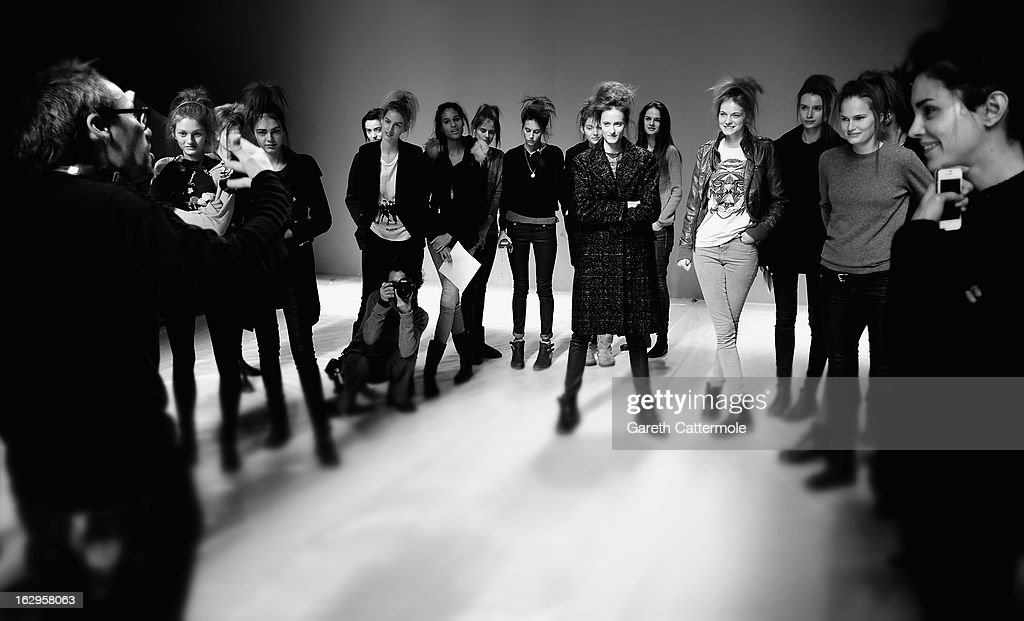 Models rehearse before the Issey Miyake Fall/Winter 2013 Ready-to-Wear show as part of Paris Fashion Week on March 1, 2013 in Paris, France.