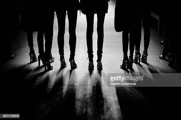 Models rehearse before the Julien Fournie show as part of Paris Fashion Week Haute Couture Spring/Summer 2015 at Palais des Beaux Arts on January 27...