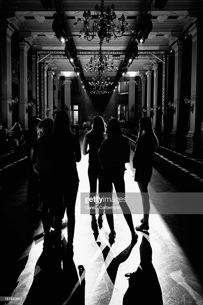 Models rehearse before the Sharon Wauchob show as part of Paris Fashion Week Womenswear Spring/Summer 2014 on September 26, 2013 in Paris, France.