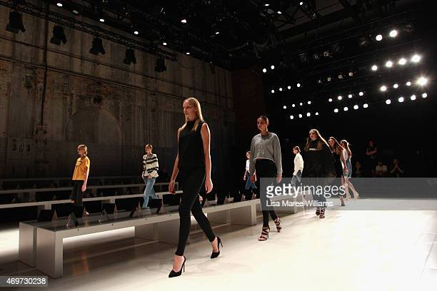 Models rehearse the runway ahead of the Steven Khalil show at MercedesBenz Fashion Week Australia 2015 at Carriageworks on April 15 2015 in Sydney...