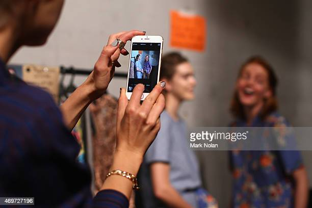 Models relax backstage ahead of the Kate Sylvester show at MercedesBenz Fashion Week Australia 2015 at Carriageworks on April 15 2015 in Sydney...