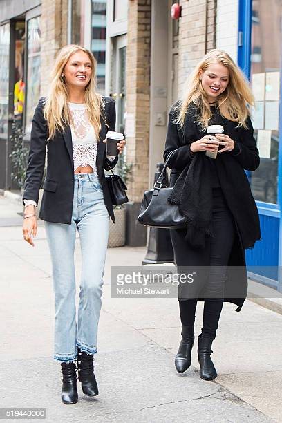 Models Romee Strijd and Daphne Groeneveld seen in Tribeca on April 6 2016 in New York City