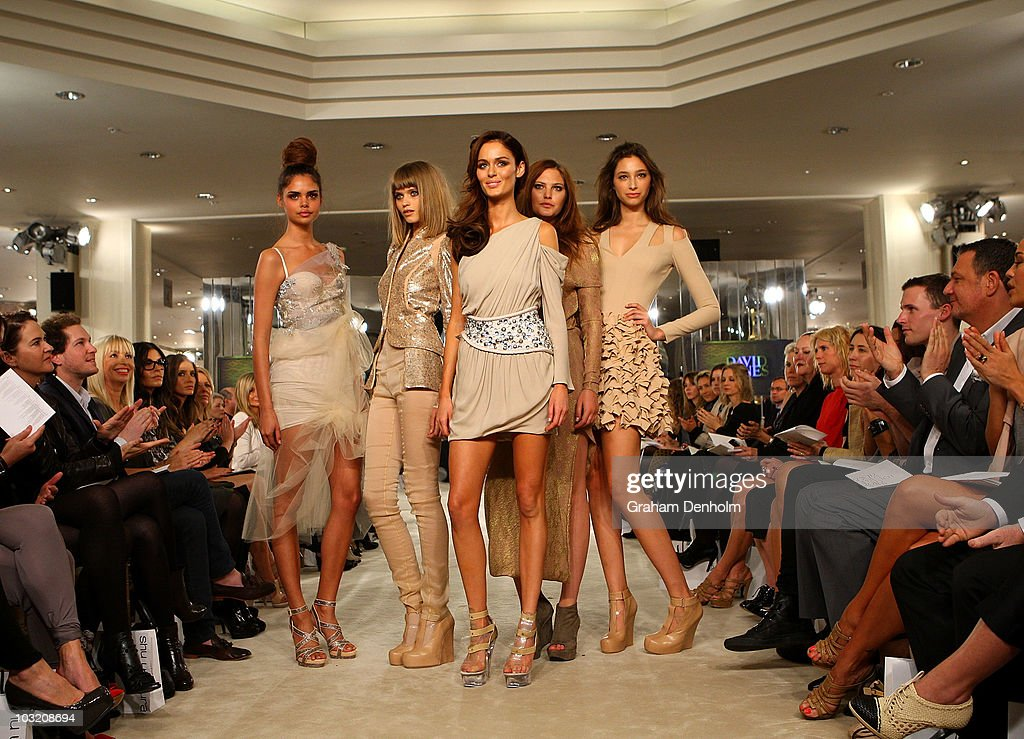 Models Samantha Harris, Abbey-Lee Kershaw, <a gi-track='captionPersonalityLinkClicked' href=/galleries/search?phrase=Nicole+Trunfio&family=editorial&specificpeople=3006654 ng-click='$event.stopPropagation()'>Nicole Trunfio</a>, <a gi-track='captionPersonalityLinkClicked' href=/galleries/search?phrase=Catherine+McNeil&family=editorial&specificpeople=737640 ng-click='$event.stopPropagation()'>Catherine McNeil</a> and Alexandra Agoston pose on the catwalk at the David Jones Spring/Summer 2010 Season Launch at David Jones Elizabeth Street Store on August 3, 2010 in Sydney, Australia.