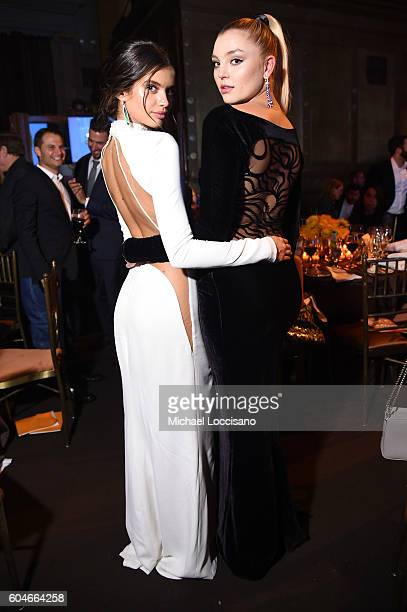 Models Sara Sampaio and Rachel Hilbert attend the UNITAS 2nd annual gala against human trafficking at Capitale on September 13 2016 in New York City