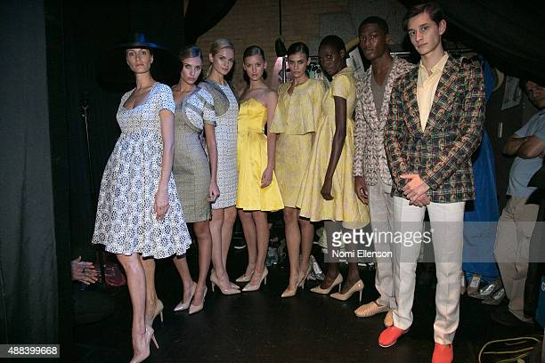 Models seen backstage at the B Michael America show during Spring 2016 New York Fashion Week at Harlem Stage on September 15 2015 in New York City