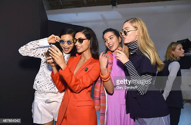 Models seen backstage prior to the Banana Republic presentation during Spring 2016 New York Fashion Week on September 12 2015 in New York City
