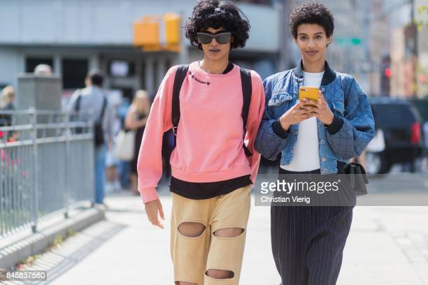 Models seen in the streets of Manhattan outside Zimmermann during New York Fashion Week on September 11 2017 in New York City